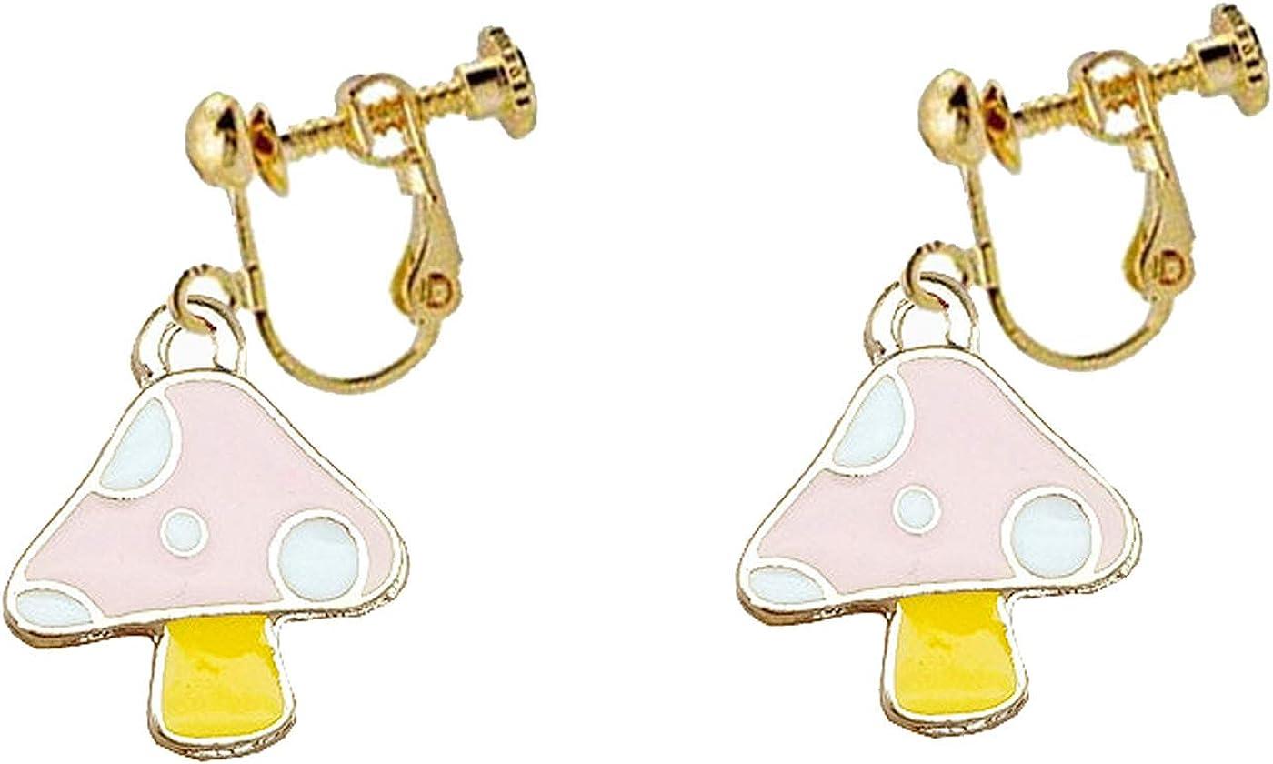 Enamel Little Mushroom Earrings Clip on Earrings for Girls Women Non Pierced Cute Tiny Mushroom Vegetable Fruit Dangle Drop