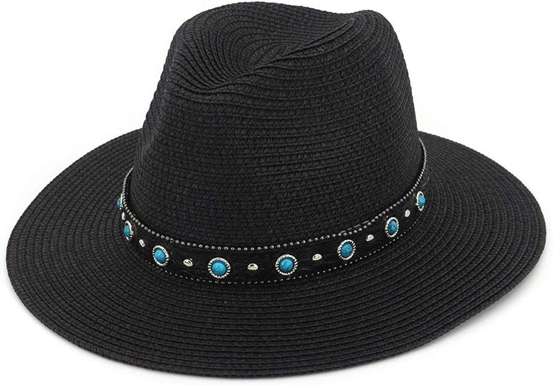 Straw Cap Party Garden Travel Women's Wide Floppy Brim Summer Beach Sun Hat (color   Black, Size   Adjustable)