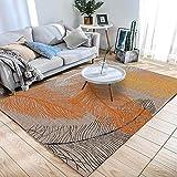 Simmia Home Alfombra De Salón Diseño Moderna Pluma Negro Naranja Blanco 140 * 200 cm Rugs para Salón habitación Dormitorio Antideslizante Interior al Aire Libre