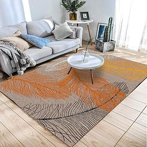 Simmia Home Alfombra De Salón Diseño Moderna Pluma Negro Naranja Blanco 80 * 120 cm Rugs para Salón habitación Dormitorio Antideslizante Interior al Aire Libre