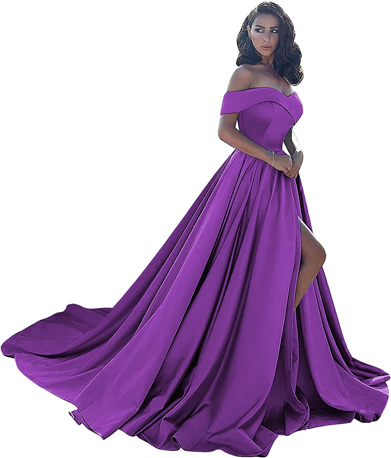 BONOYUER Women's Off The Shoulder Satin Prom Dresses with Pockets High Slit Long Formal Ball Gown Evening Dress