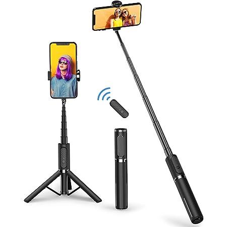 ATUMTEK Bastone Selfie Treppiede, Mini 3 in 1 Selfie Stick Bluetooth Estensibile in Alluminio con Telecomando Wireless con Rotazione a 270° per iPhone 12/11/XS Max/XS/XR/X/8, Samsung e Smartphone