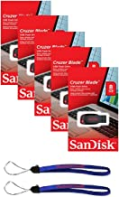 SanDisk Cruzer Blade 8GB (5 pack) SDCZ50-008G USB 2.0 Flash Drive Jump Drive Pen Drive - Five Pack Retail Packs w/(2) Everything But Stromboli (tm) Lanyards