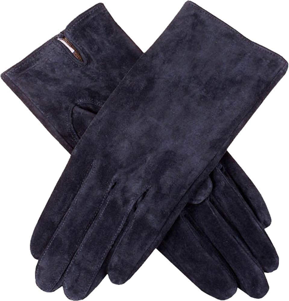 Dents Womens Emily Plain Suede Gloves - Navy