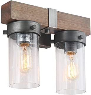 LOG BARN 2 Lights Retro Wooden Wall Sconce in Real Distressed Wood and Brushed Antique Silver Finish with Cylindrical Bubbled Glass Shades, 11.8