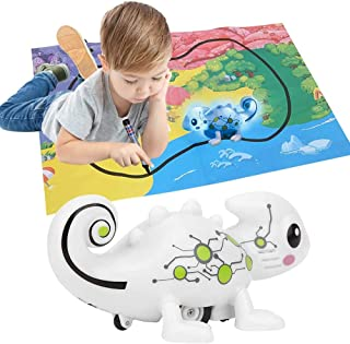 Inductive Dinosaur Toy For Kids, Follow Black Line and Recognize 5 different colors with LED Light Educational Toys for Ki...