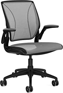 Humanscale Diffrient World Task Chair: Adjustable Duron Arms - Standard Height Cylinder - Standard Carpet Casters - Black Frame/Platinum Dash Seat