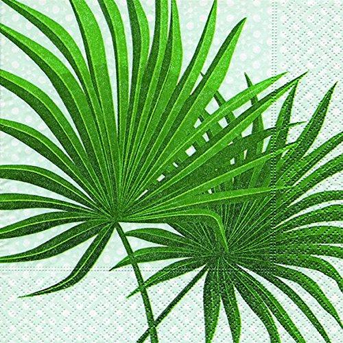Lot de 2 serviettes/40stück) 3 plis 33 x 33 cm Motif été (Palm Branch)