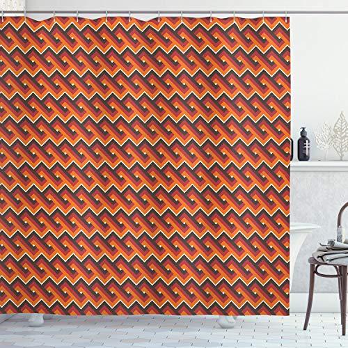 ABAKUHAUS Retro Duschvorhang, Wellenförmige Zickzack-Muster, Hochwertig mit 12 Haken Set Leicht zu pflegen Farbfest Wasser Bakterie Resistent, 175 x 200 cm, Multicolor