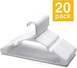 HOUSE DAY Plastic Hangers Plastic Clothes Hangers for Skirt Suit Coat, Standard Tubular Plastic Hanger for Clothes (20 Pack,White)