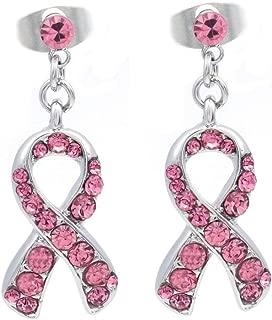 Light Pink Ribbon Breast Cancer Awareness Stud Post Earrings Rhinestones