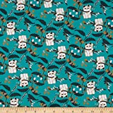 Paintbrush Studio Imperial Garden Lucky Cat Dark Green/White Quilt Fabric (0683876)
