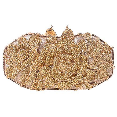 Fawziya Metall Rose Blume Blatt Magnet Verschluss Qualität Baguette AbendClutch, Gelb (gelb), 18(L) x6(W) x10.5(H)(cm)