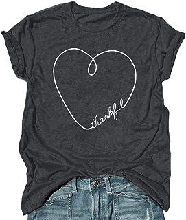 Thankful Heart T Shirt Cute Graphic Tees O-Neck Casual Short Sleeve Tops Soft Shirt for Women