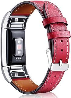 Reloj Correa Metálica, Dxlta Ajustable Reemplazo de Banda de Pulsera, Correa de Reloj de Cuero para Fitbit Charge 2