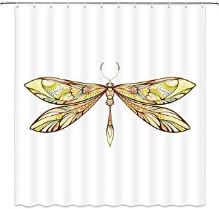 BCNEW Dragonfly Shower Curtain Decor Floral Pattern Wings Creative Insect Decorative Bathroom Curtain Polyester Fabric Machine Washable with Hooks 70 x 70 Inches (Multi 2507L)