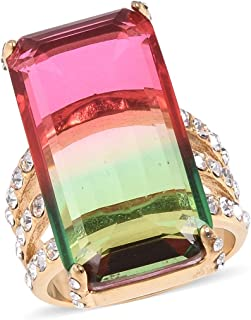 Shop LC Delivering Joy Cocktail Ring Stainless Steel Yellow Plated Baguette Bi-Color Tourmaline Cubic Zirconia CZ Jewelry for Women Size 6