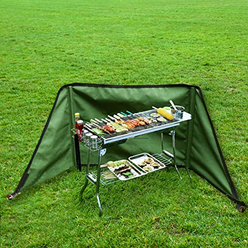 Paravientos para cocina de gas, plegable, de lona de silicona y algodón, parabrisas compacto, para camping, jardín, picnic, barbacoa (27 x 12 x 5 cm)