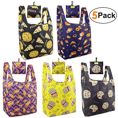 Grocery Shoping Bags Reusable Tote Bags XLarge 50LBS Ripstop Reusable Gift Bags With Small Pouch 5 Pack Machine Washable Waterproof Cookies Hot Dogs Bread Popcorn Pizza Cute Gift Bags