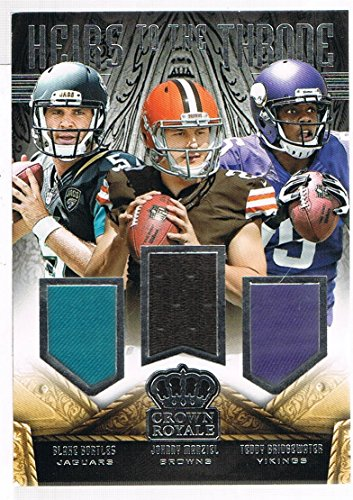 2014 Crown Royale Heirs to the Throne Materials Trios Jersey #HTTQB1 Blake Bortles/Johnny Manziel/Teddy Bridgewater #d 132/399 RC Rookie