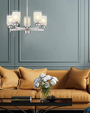 Jazava Contemporary 5-Light Large Chandeliers, Industrial Indoor Pendant Lighting for Kitchen Island, Living Room, Brushed Ni