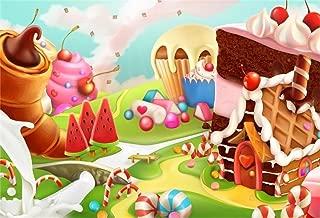 AOFOTO 10x7ft Fantasy Candy Land Landscape Background Cartoon Ice Cream Dessert Lollipop Photography Backdrop Cake House Birthday Party Decoration Banner Photo Studio Props Kid Girl Vinyl Wallpaper