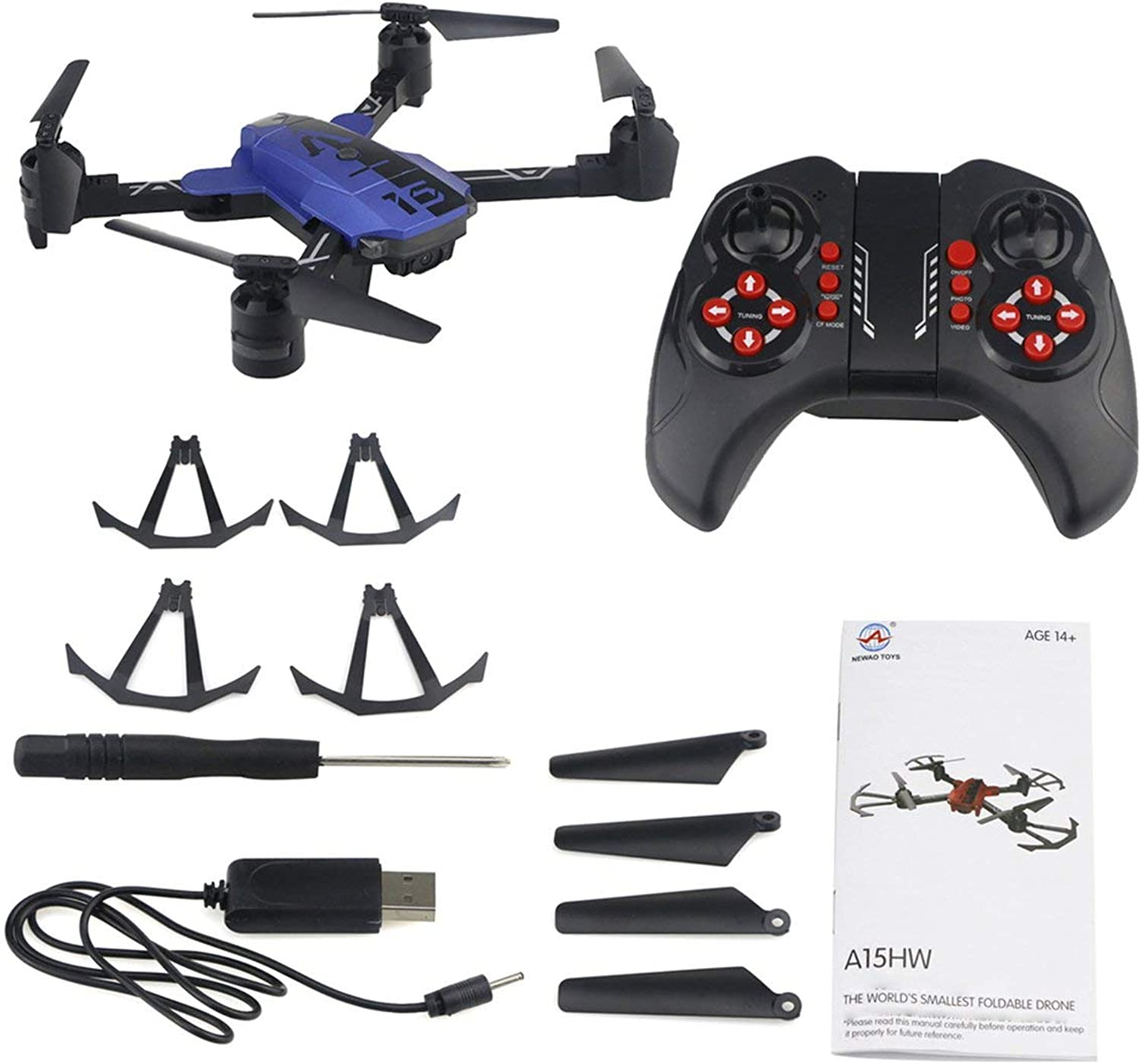 Zinniaya A15HW 2.4G 6CH Pocket Foldable RC Drone with 720P HD Wide Angle Camera