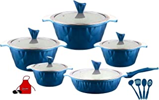 cookware set granite multi color 17 pcs