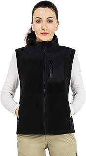 MIER Women's Zip-up Polar Fleece Vest Casual Sleeveless Soft Fleece Vest with Zipper Pockets, Outwear, Black