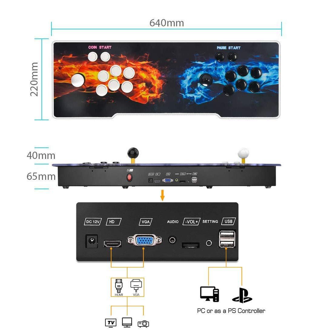 MEANSMORE Arcade Games Machines Pandora Box 11 Joystick y botones multijugador Arcade Console, 3003 Videojuegos retro clásicos Todo en uno, CPU avanzada, Compatible con HDMI y VGA: Amazon.es: Hogar