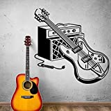 chitarra elettrica strumento wall decal rock pop strumenti musicali wall sticker bar musica studio decorazione murale art a2 42x42cm
