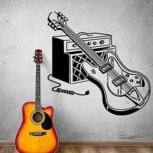 Guitarra eléctrica Instrumento de pared calcomanía Rock Pop herramientas musicales etiqueta de la pared Bar música estudio decoración mural arte A9 57x57cm