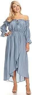 Anna-Kaci Womens Casual Boho Long Sleeve Off Shoulder Renaissance Peasant Dress