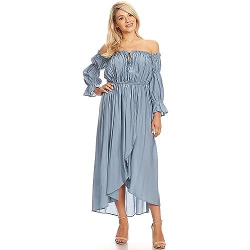 2e9367ef89e1 Anna-Kaci Womens Casual Boho Long Sleeve Off Shoulder Renaissance Peasant  Dress