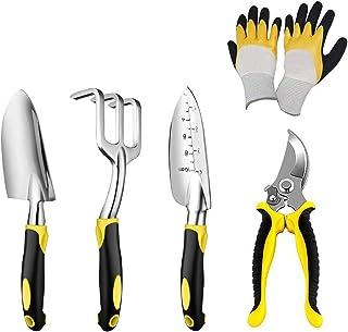 N/P Garden Tool Set 5 Piece Cast-Aluminum Heavy Duty Gardening Kit Garden Gifts with Soft Rubberized Non-Slip Handle
