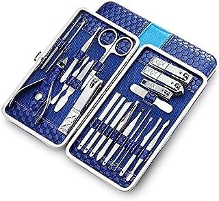 Juego de manicura para manicura y pedicura, 21 piezas, kit de manicura de acero inoxidable, kits de aseo profesional, herr...