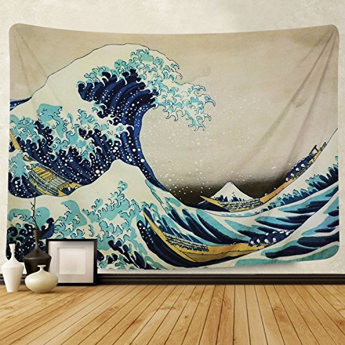 "Martine Mall Tapestry Wall Tapestry Wall Hanging Tapestries The Great Wave Off Kanagawa Katsushika Hokusai Thirty-six Views Mount Fuji Tapestry Wall Art (The Great Wave Off Kanagawa, 51"" x 59"")"