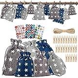 Komake - Calendario dell'Avvento natalizio con adesivi numerici, sacchetti dell'Avvento co...