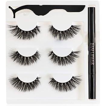 Lanflower False Eyelashes with Eyeliner, Fluffy Faux Mink Lashes Pack, No Magnetic Eyelashes and Glue Free