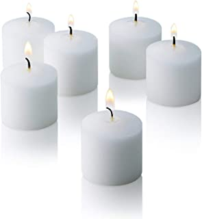 White Votive Candles - Box of 72 Unscented Candles - 10 Hour Burn Time - Bulk Candles for Weddings, Parties, Spas and Decorations