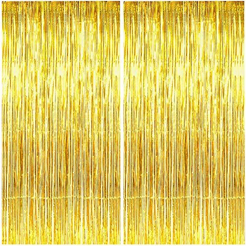 2 Stück Folien Fransenvorhänge, Goldenes Lametta Metallic Lametta Vorhänge, Foto Hintergrund für Hochzeit, Verlobung, Brautparty, Geburtstag Junggesellinnenabschied Bühnendekoration(3,28 ft x 6,56 ft)