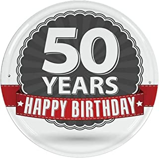 Hitecera 50th Birthday Decorations Practicqality Round Tin Sign,Retro Label Red Ribbon Classical Old Fashioned Celebratory for Club Wall Decoration,Dimensions: 12'' Diameter