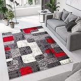 Tapiso Dream Alfombra de Salón Cuarto Juvenil Diseño Moderno Gris Rojo Crema Geométrico Piedras Fina Suave 80 x 150 cm