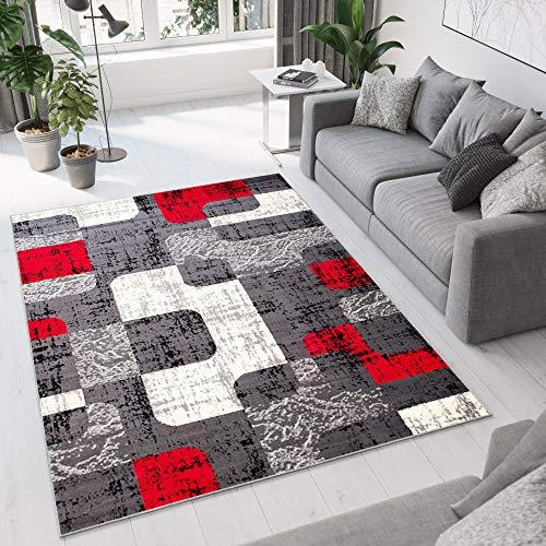 Teppich Wohnzimmer Designer Retro Muster MELIERT IN GRAU NEU S - XXL (180x250 cm)