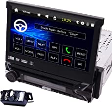 Free Backup Camera Included! 7 inch Retractable Capacitive Touch Screen Wince System Single 1 Din Car Stereo DVD Player Support GPS Navigation/USB/SD/Cam-in/Work with Bluetooth/SWC