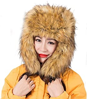 8d20b41b63f Dikoaina Faux Fur Snow Trapper Hat with Ear Flap for Skiing Head  Circumference 22