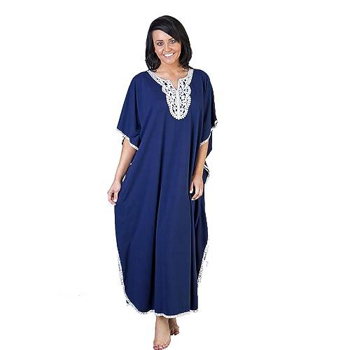66ee87c813 Womens/Ladies Nightwear/Sleepwear Embroidered Printed Kaftan One Size, Blue  (L501)