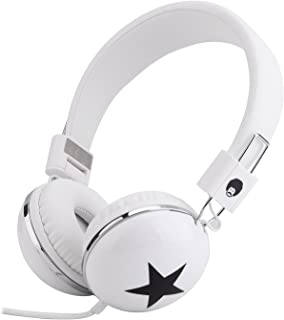 Rockpapa Star On Ear Headphones Foldable, Adjustable Headband for Kids Childrens Boys Girls Adults, iPhone iPod iPad Smartphones Tablets Computer DVD White