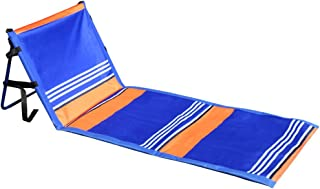 Leader Accessories Deluxe Portable Folding Reclining Lounger Beach Chair - Perfect for Beach and Camping (Model C:Stripe Blue W/O Armrest)