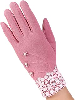SGJFZD Women Touched Screen Gloves Lace Bowknot Warm Gloves Elegant Flocking Warmer Gloves Thermal Gloves (Color : Pink, Size : OneSize)